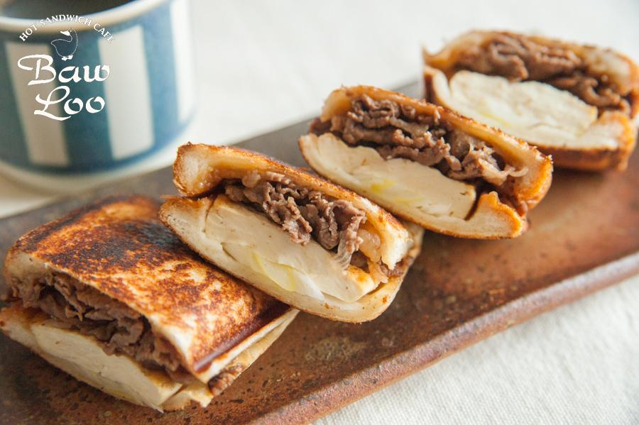 牛肉と豆腐のすき焼き風ホットサンド